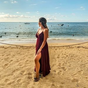 Lulus In Love Forever Burgundy Lace Up Maxi Dress